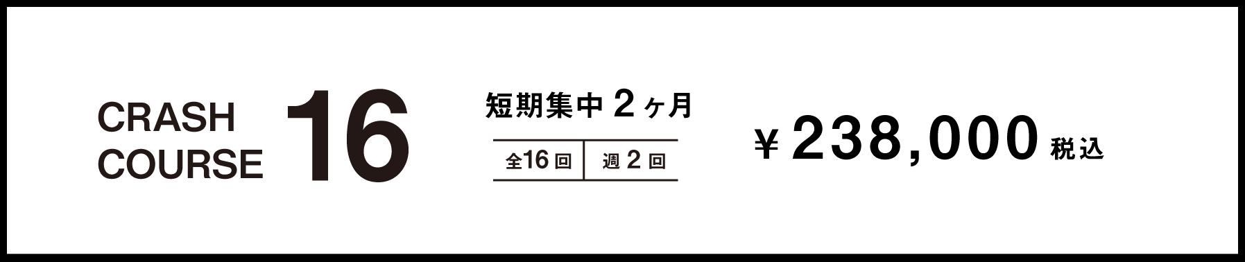 短期集中2ヶ月 全16回 週2回 238,000円+TAX